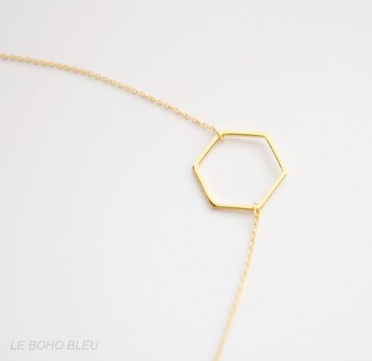 Geometryczny minimalistyczny naszyjnik firmy Le Boho Bleu