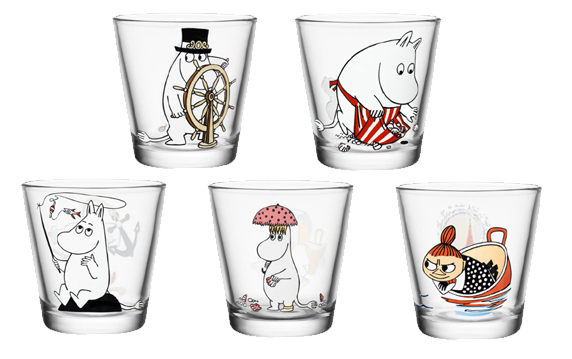 Muminkowe szklanki firmy Iittala