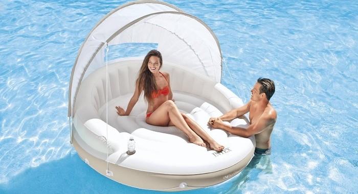 okrągły materac do pływania z daszkiem