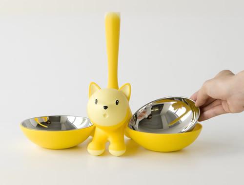 podwójna miska dla kota z kotem Alessi