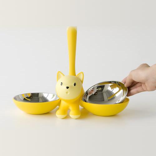 Podwójna miska dla kota z kotem marki Alessi