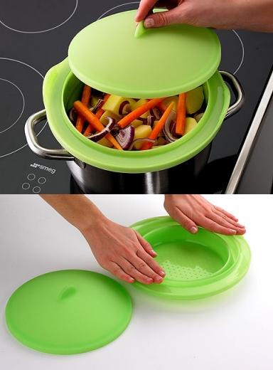 Składane, silikonowe naczynie do gotowania na parze od Lekue