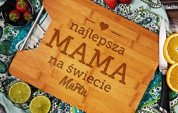 deska drewniana z grawerem mama