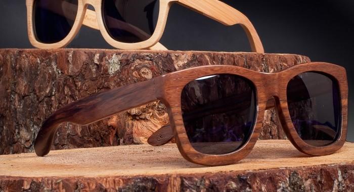 okulary z drewnianą oprawką