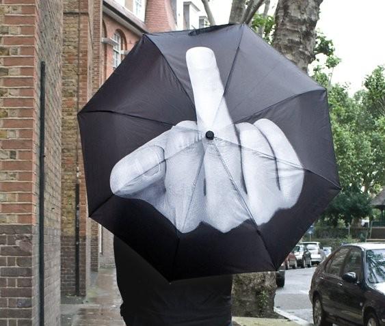 Parasol ze środkowym palcem Fuck U