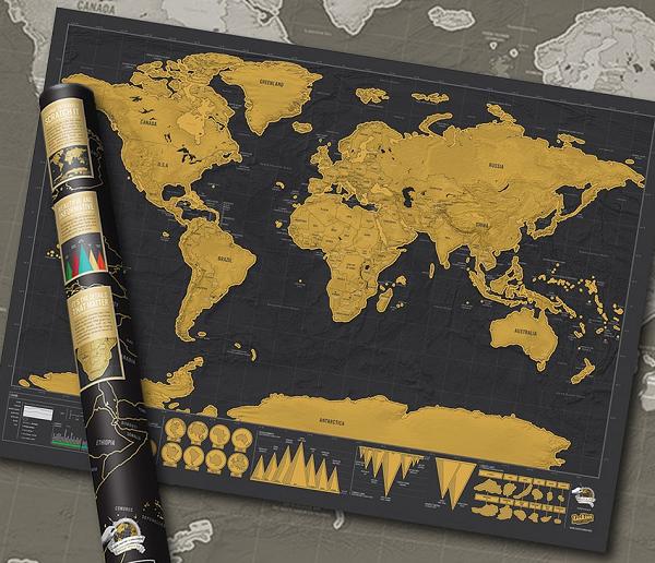 mapa zdrapka czarno złota