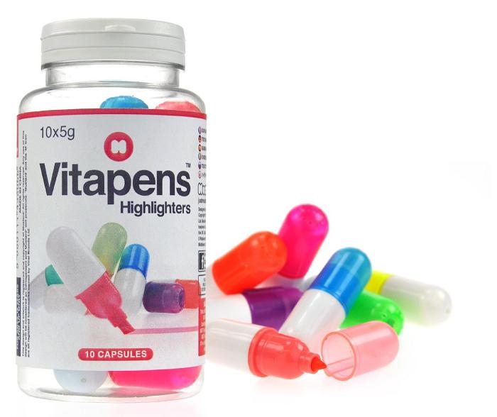 Kolorowe zakreślacze tabletki Vitapens marki Mustard