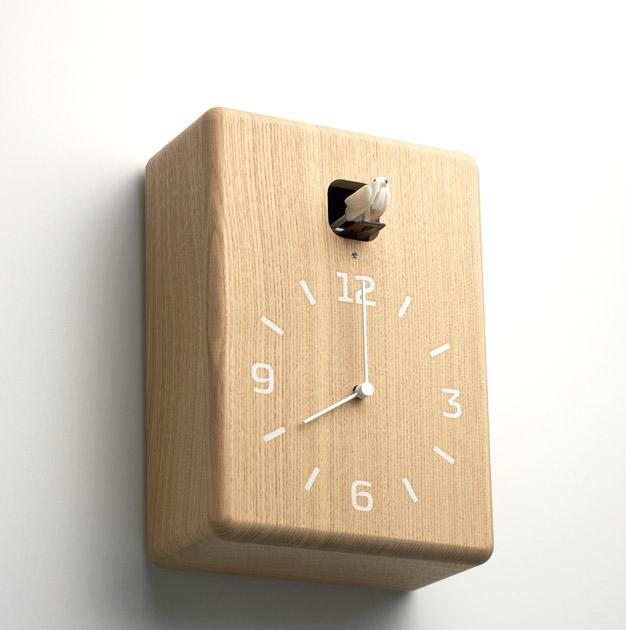 Minimalistyczny zegar z kukułką Lemnos