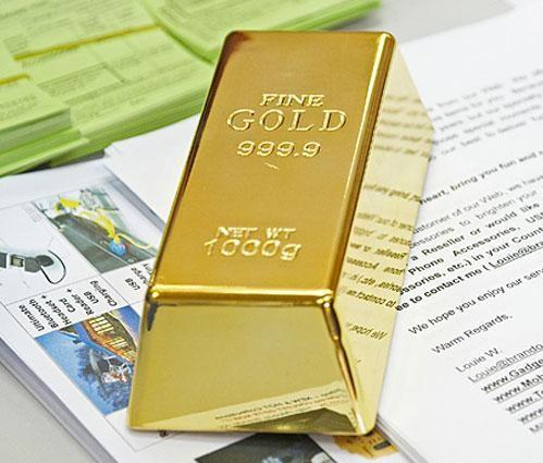 Przycisk do papieru sztabka złota