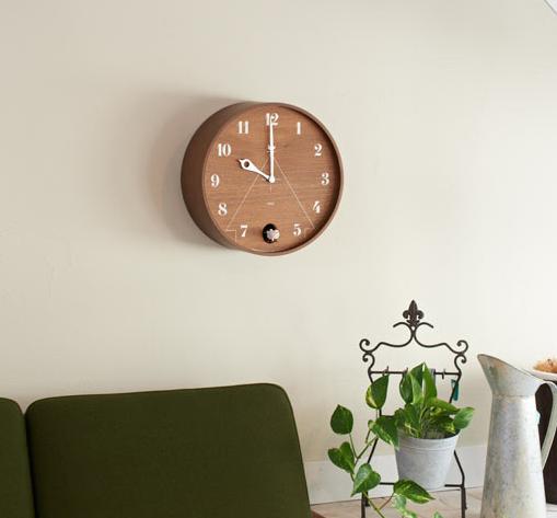 Drewniany okrągły zegar z kukułką marki Lemnos