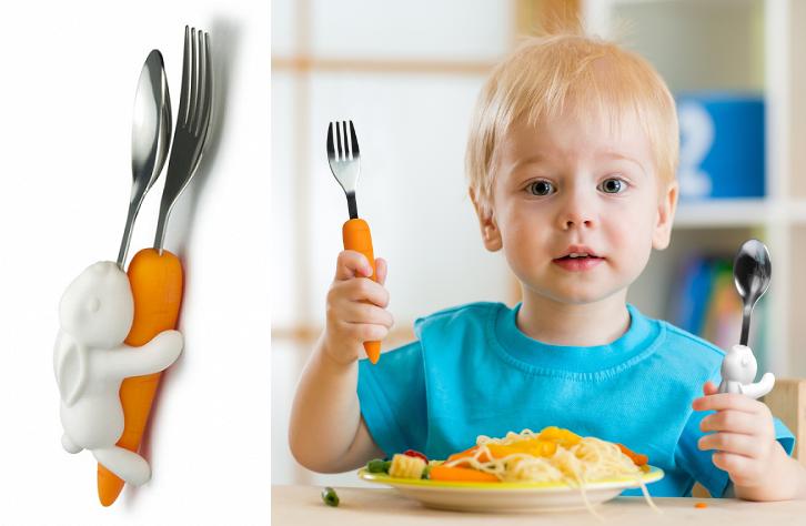 Dziecięce sztućce królik i marchewka marki Hoobbe