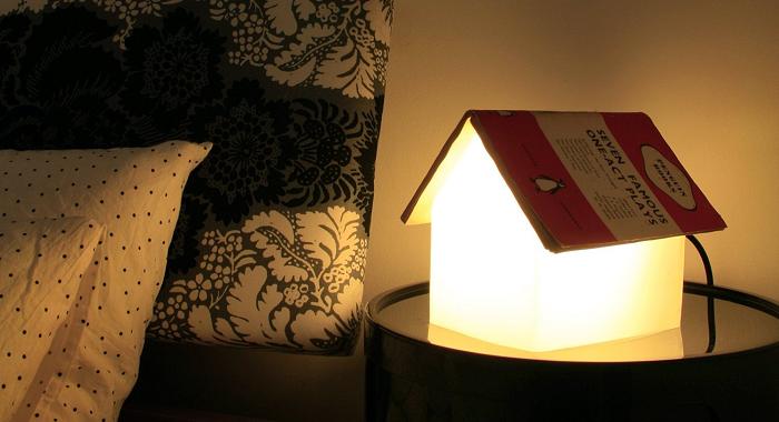 lampa z dachem z książki