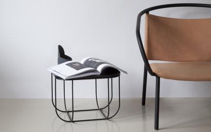 stalowy minimalistyczny stolik kawowy menu