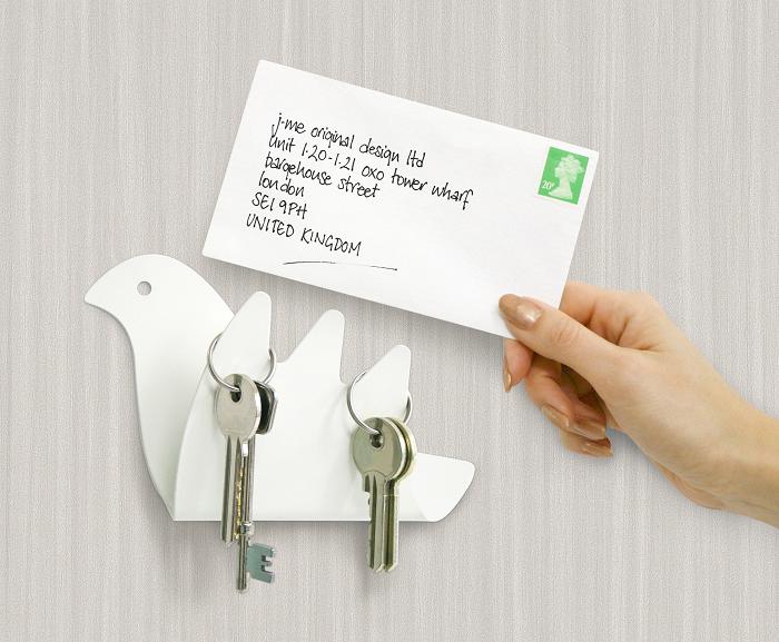 Wieszak na klucze z półką w kształcie ptaka marki J-me