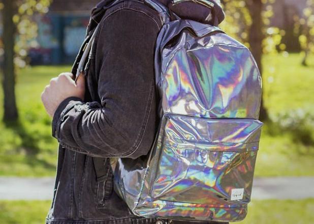 Srebrny hologramowy plecak