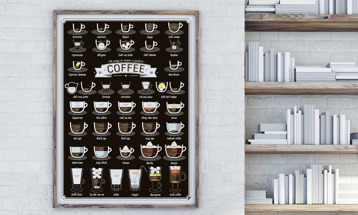 Plakat rodzaje kawy firmy Follygraph