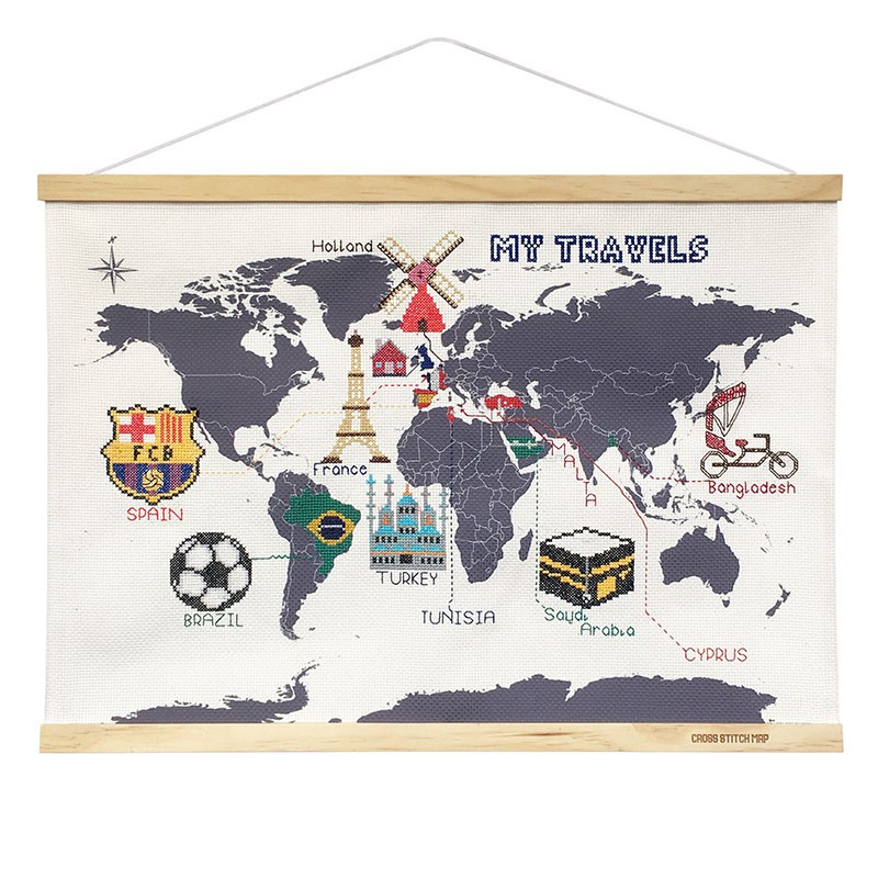 Mapa świata wyszywanka