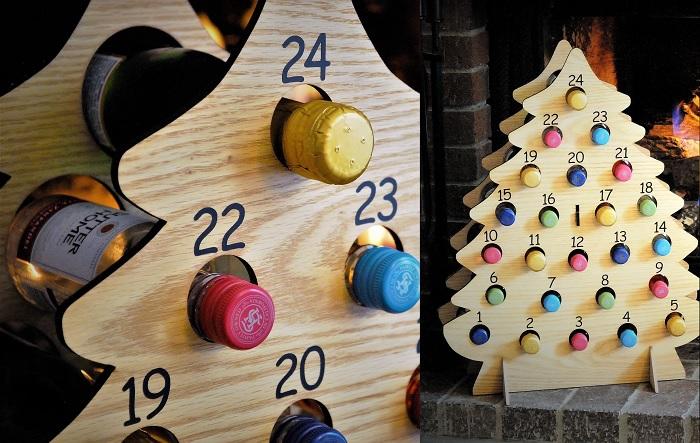Alkoholowy kalendarz adwentowy w kształcie choinki