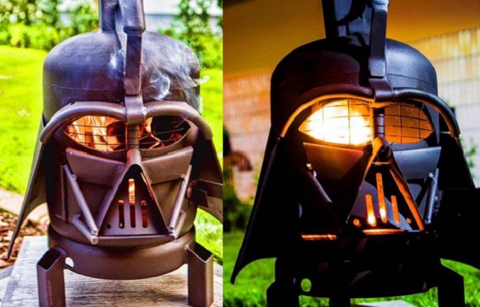 Zabudowany grill ogrodowy Darth Vader