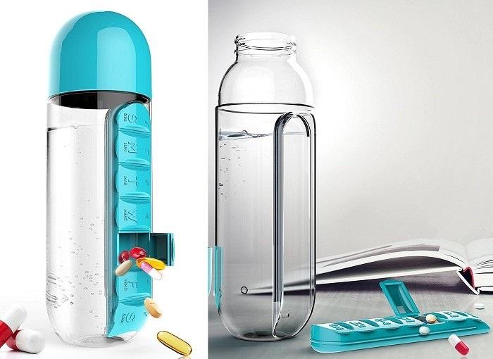 butelka z pojemnikiem na tabletki