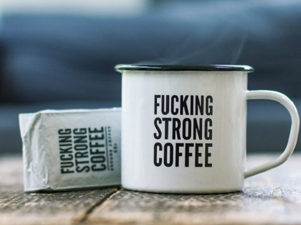 Retro kubek cholernie mocna kawa