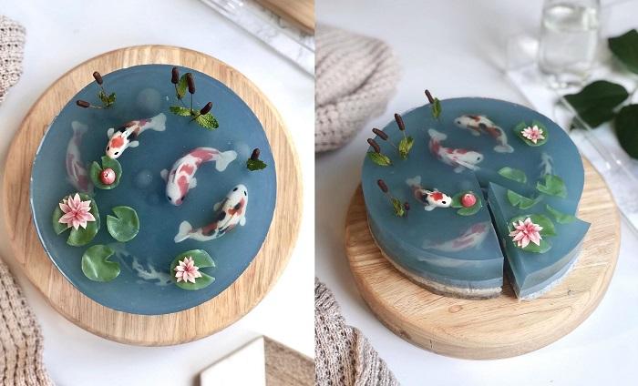 Transparentne ciasto, które wygląda jak jeziorko z japońskimi karpiami Koi