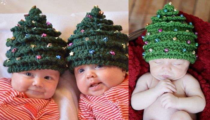 Dziecięca czapeczka w kształcie choinki. Świetny dodatek do świątecznej sesji zdjęciowej