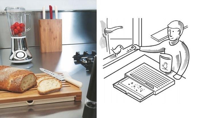 Drewniana deska z szufladą na okruchy 2w1 od Alessi