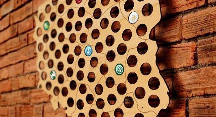 drewniana mapa na kapsle polska