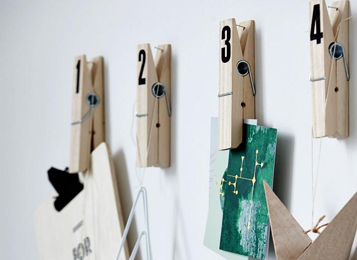 Drewniane klipsy z numerkami by House Doctor