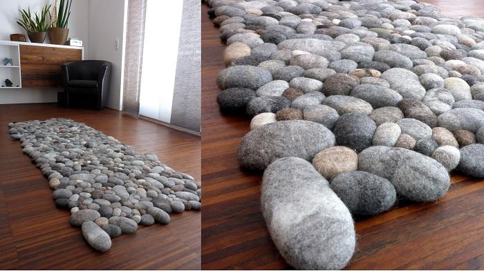 Dywanik z wełnianych kamieni, które są dużo bardziej miękkie niż się wydaje