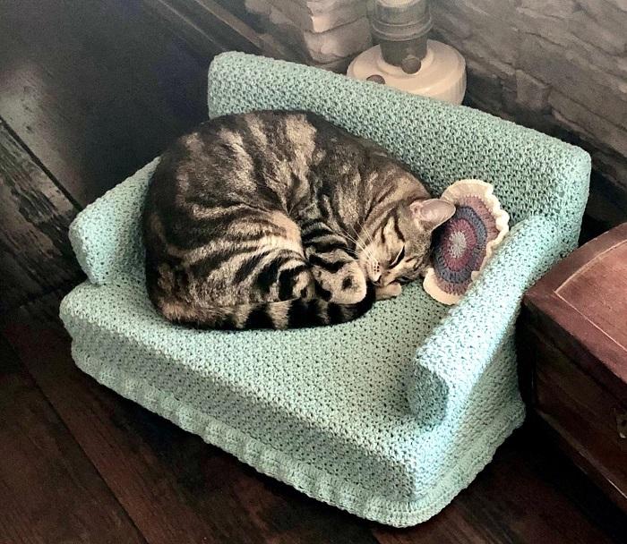 dziergana kanapa dla kota