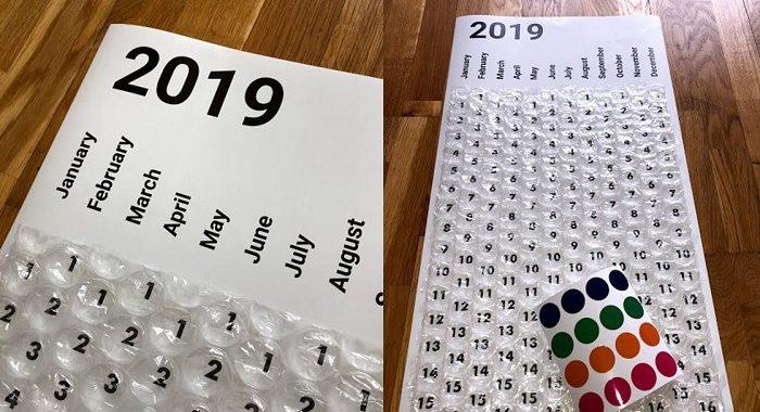 kalendarz folia bąbelkowa