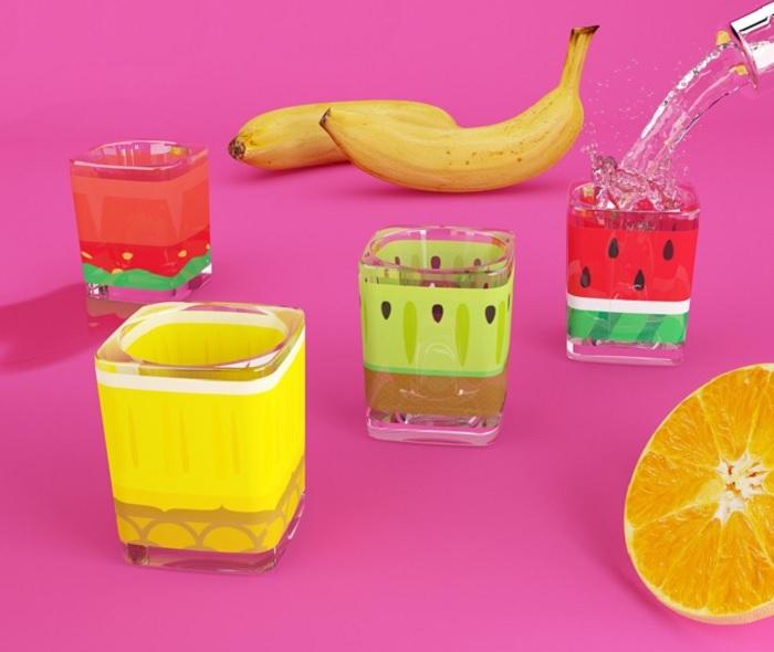 Kieliszki do wódki owoce by Mustard