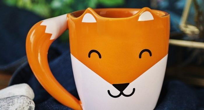 kubek rudy lis z uszami