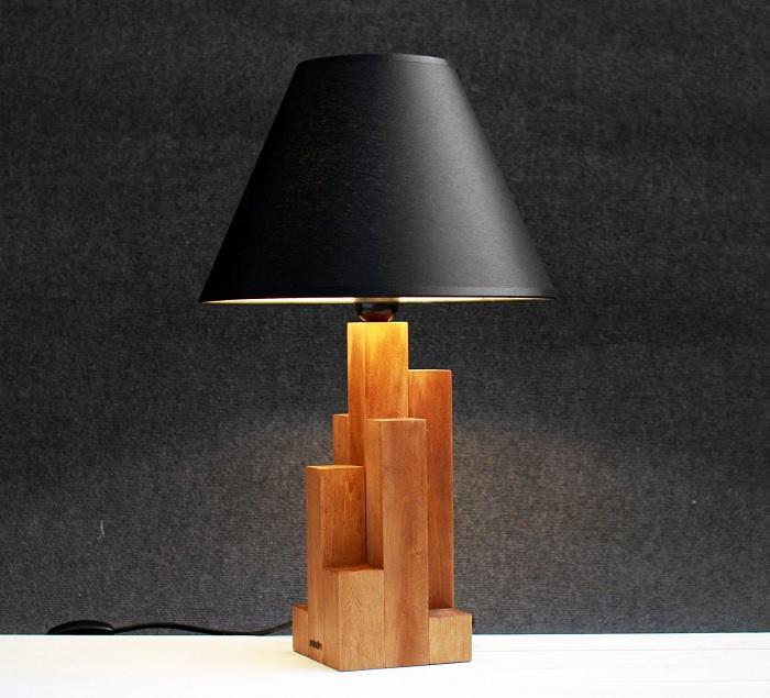 lampka drewniane klocki