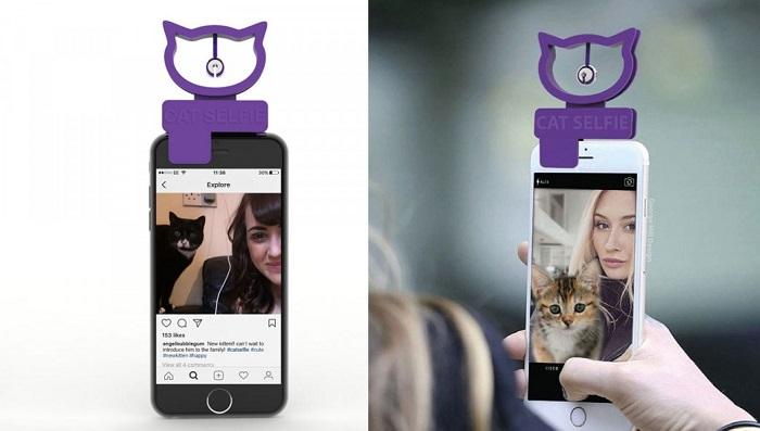 Nakładka na telefon do selfie z kotem