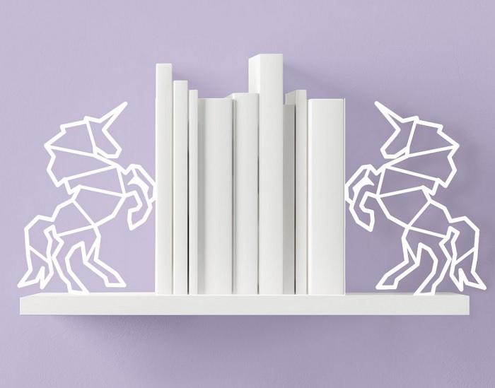 Geometryczne jednorożce – podpórki do książek