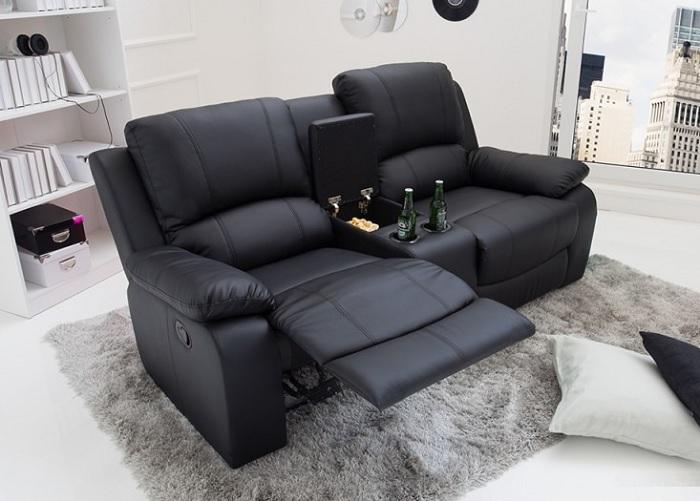 Podwójny fotel kinowy z miejscem na przekąski