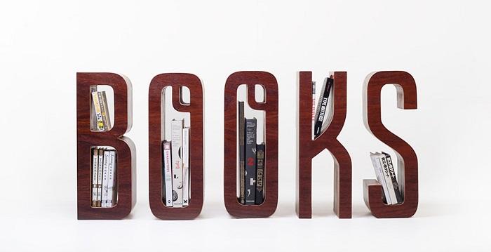 Drewniana półka na książki BOOKS