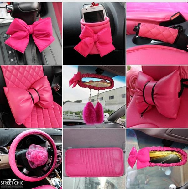 różowe akcesoria do auta