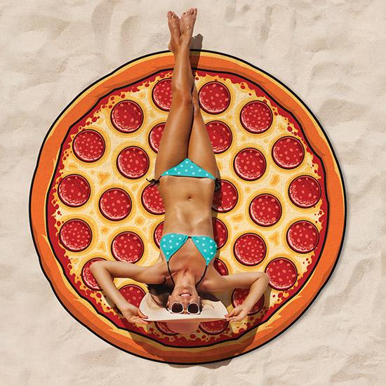 Okrągły ręcznik plażowy pizza by BigMouth