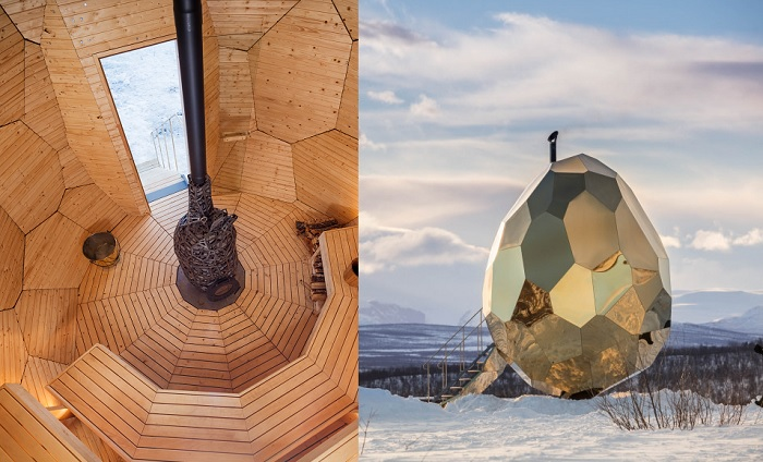 Sauna złote jajko po środku mroźnej Kiruny by Bigert & Bergström