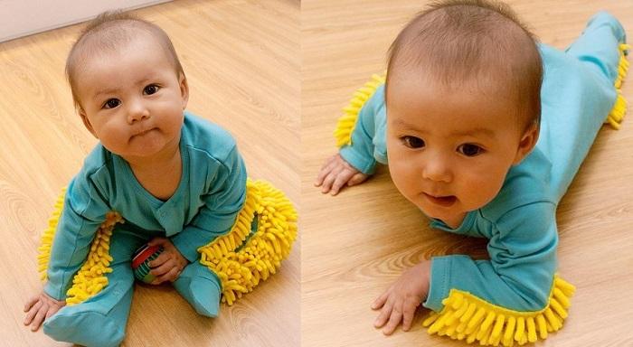 Śpiochy z mopem, aby i najmłodszy domownik mógł pomóc w przedświątecznych porządkach
