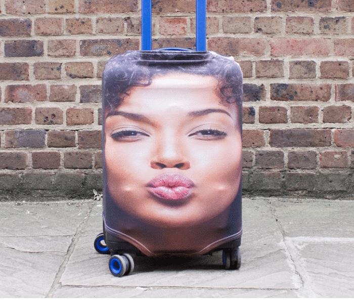 walizka ze zdjeciem twarzy