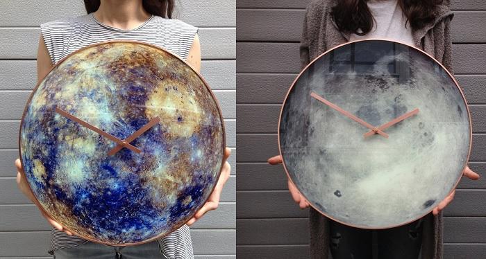 Szklane zegary inspirowane układem słonecznym, które świecą w ciemności